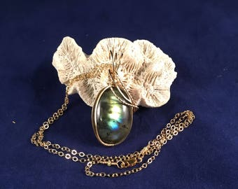 Labradorite Pendant Wrapped in 14kt Gold Filled Wire 1.75 Inches Tall .75 Inches Wide on Handmade 14kt Gold Filled 20.5 Inch Chain OOAK