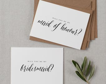 5 x Will You be My Bridesmaid Card, Bridesmaid Proposal, Maid of Honor Card, Will You Be My Maid of Honor, Bridesmaid Card, Bridal Cards, K7