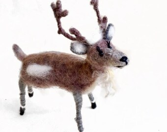 Needle Felted Gift Unique Deer Needle Felted Reindeer Deerfelting Decor Soft Sculpture Deer Felting Christmas Deer Felting  Gift-Deer Brown