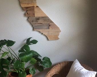 California State Sign   Reclaimed Wood   Pallet Sign   California Home Decor   Wall Art    Handmade   Modern  