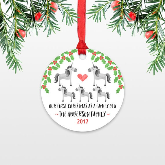 Unicorn First Christmas Baby Ornament Personalized Family Christmas Ornaments for Family of 5 Five New Baby Christmas Gift Family Ornament