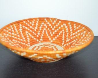Orange and Natural Colied Raffia Basket Bowl