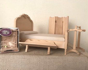 Dollhouse Miniature, Unpainted wood furniture in 1:12 scale - set nr 3