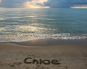 Name in Sand, Baby Girl Gift, Personalized Artwork, Beach, Nursery Decor - Chloe