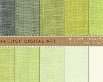 Digital Paper Linen 'Pistachio Shades' Green Linen Textured Digital Sheets for Printing, Digital Scrapbooking, Crafts, Cards, Invites...