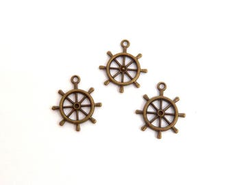 LOT 3 charm wheel Navy ship 30mm
