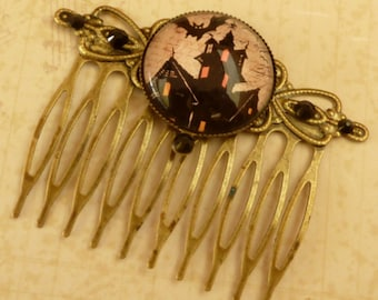Hair comb with haunted house and bats in black bronze Halloween Hair Accessories original hair comb