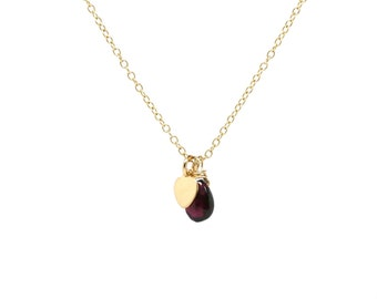 Garnet and heart charm solid gold necklace
