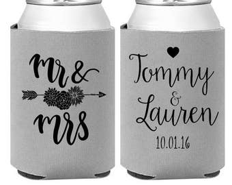 Personalized Can Coolers  custom rustic wedding favors  mr mrs reception coolies  heart arrow boho wedding favor -  Choose Colors