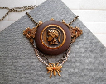 Vintage Button Bib Necklace - Rustic Metal Key Plate Bee & Gladiator Button Pendant - Soldier Cameo Victorian Era Assemblage Jewelry Gift