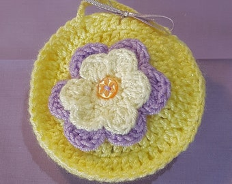 Pretty Crochet Circular Hanging Lavender Sachet in Sparkly Yellow with a Light Purple and Sparkly White Flower