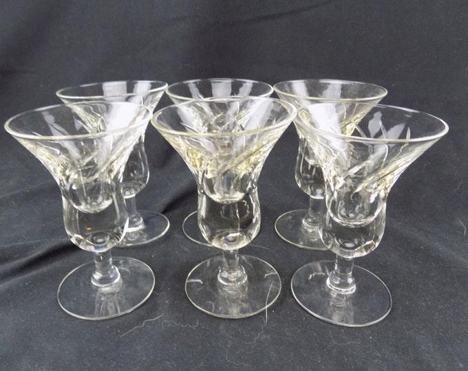 Vintage Cut Glass Handmade Liqueur Glasses Set of 6 Barware