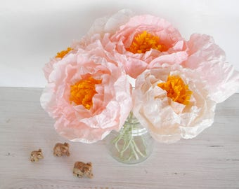 Seven light pink and white peonies, paper flowers, paper peonies