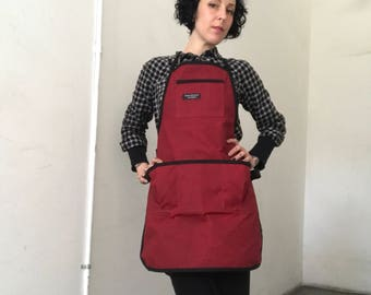 Poppy Red Waxed Canvas Utility Apron