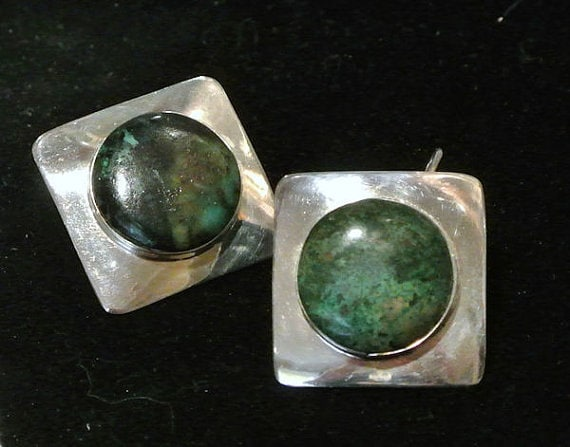 TAXCO Mexico Vintage Earrings / Chrysocolla / Sterling Silver