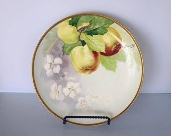"Memorial Day Sale Coronet Limoges France 8-1/2"" Dessert Plate Hand Painted Apples and Signed A. Bronssillon"
