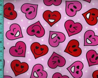 Happy Valentine Heart Fabric, Quilting Crafting Home Decor