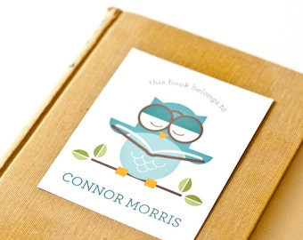 Personalized Bookplates, Children's Bookplate Sticker // OWL