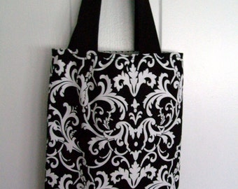 Beautiful Fully Lined Damask Tote Bag, Cotton Bag, Purse, Carryall