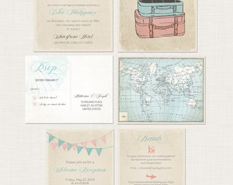 Vintage Suitcases Destination Wedding Invitation RSVP rustic vintage illustrated wedding invitation boho chic bunting flags DEPOSIT Payment
