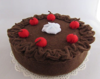 Felt Chocolate Cake, classic chocolate cake with choc icing, cherries and a dollop of cream - play with your food!