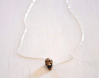 Open-Mouth Small Skull Necklace w Sterling Silver Chain