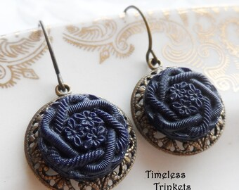 Antique Glass Button Earrings with Brass Filigree, Navy Blue, Flowers, Braided Design