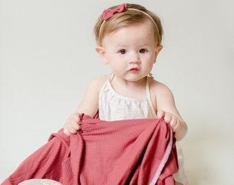 Baby Swaddle- the | Petal | Burgundy Swaddle Blanket