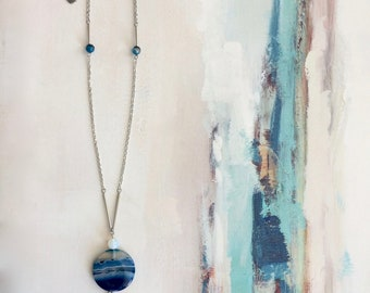 "Long ""GAYA"" lune_ Frivole jewelry agate/gemstone necklace"