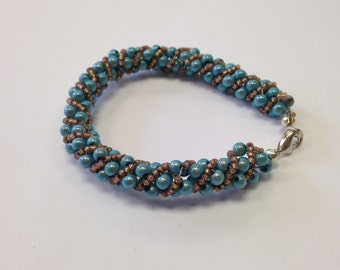 Spiral Twist Beaded Bracelet - Boho Chic  - designed with Turquoise miracle beads and Bronze Miyuki Japanese Seed Beads