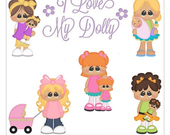 DIGITAL SCRAPBOOKING CLIPART - I Love My Dolly - Exclusive