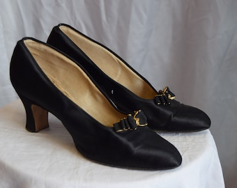 1930's  Black Satin Court Shoes approx UK 4 -4.5