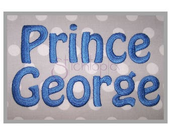 """Prince George Embroidery Font .5"""" 1"""" 1.5"""" 2"""" 2.5"""" 3"""" - bx dst exp hus jef pes sew shv vip vp3 xxx Machine Embroidery Fonts Instant Download"""
