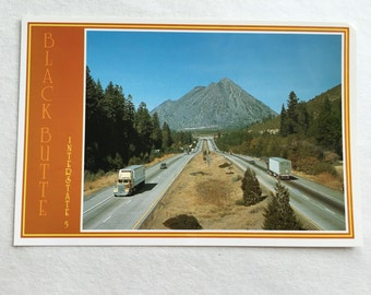 vintage view of black butte in sourthern oregon from I-5 postcard