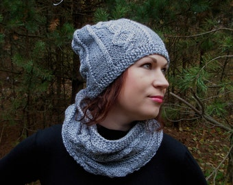 Knitted hat, knitted scarf, knitted hat scarf set, knitted chunky scarf,  gray