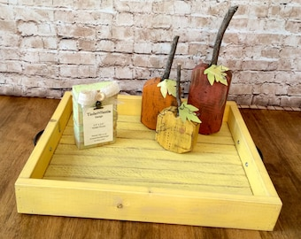 Distressed Farmhouse Style Serving Tray in Straw Yellow