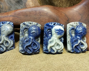 Sale #EarthDay ~ Octopus carved in Natural Lapis Lazuli Rounded Rectangle