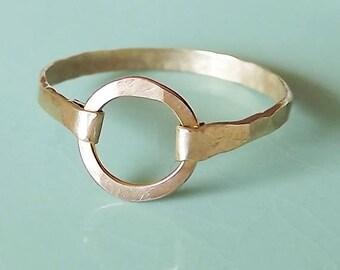 Hammered Circle Gold Filled Ring - Gold Ring - Circle Ring