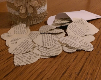 100 Table Confetti Hearts made from the pages of Old Romantic Novels  4 cm x 4 cm