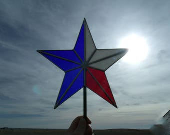 Stained Glass Texas Star, Patriotic Christmas Tree Topper Star, Heirloom Holiday Tree Decoration 10 Inch IMMIDIATE SHIPPING