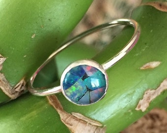 Sterling Silver and Opal Mosaic Ring