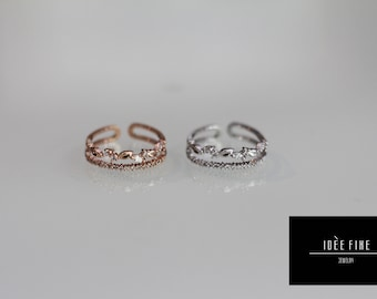 Double Layer Leaf Ring and Band Expandable Ring