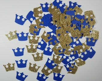 Blue and Gold Crown Confetti - Set of 100 - Prince Confett, Prince Baby Shower, Royal Crown, Royal Baby Shower, Party Decor, Gold Glitter