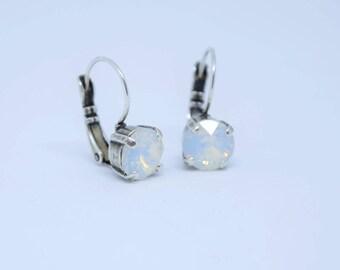 Swarovski Crystal Leverback Earrings White Opal 8mm, leverback earring, crystal earring, opal, white opal, Swarovski earring, dangle earring