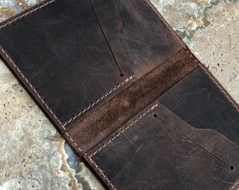 Leather Bifold Wallet, Minimalist Leather Wallet, Distressed Leather Slim Bifold Wallet, Personalized Leather Wallet #2018-01