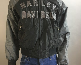 Harley Davidson Trucker Jacket// Harley Baseball Jacket// Windbreaker Size L (F1)