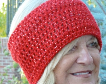 Red crochet headband for skiing or winter tennis, splash of silver, unique and original women's headband, gift for her, free shipping in USA