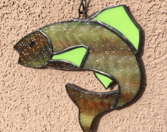 stained glass jumping fish