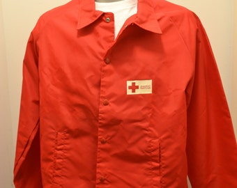 70s Red Cross nylon jacket Champion coat first aid 80s American disaster relief responder nurse doctor