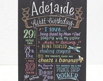 """First birthday chalkboard style custom ink drawing, 15""""x20"""" art board, the original Favorite Things Poster™"""